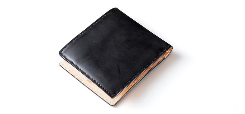 蝋引きコードバン二つ折り財布