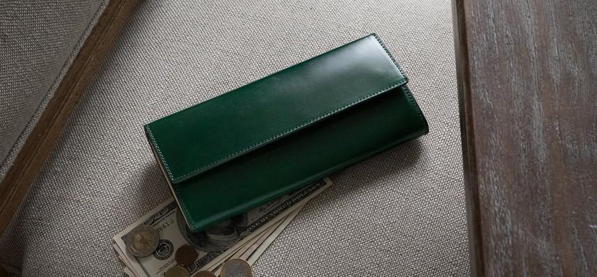 アニリン染めコードバンかぶせ長財布