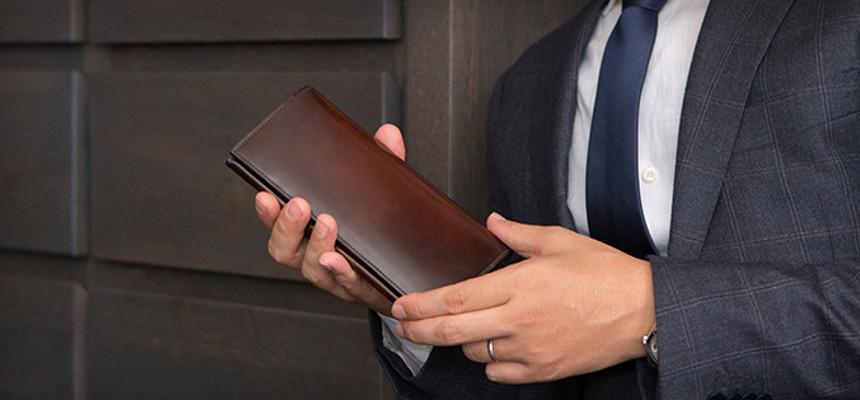 水染めコードバン(出染め)仕様の長財布「YAC112」