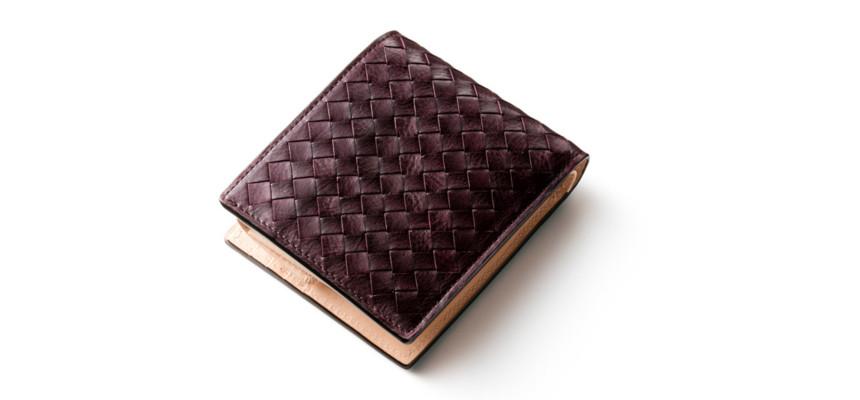 マットーネ編み込み二つ折り財布