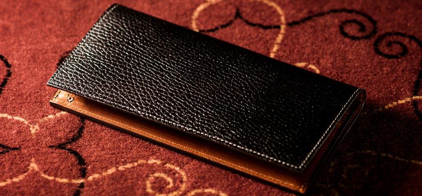 ピエトラレザーの長財布「ロッソピエトラ」