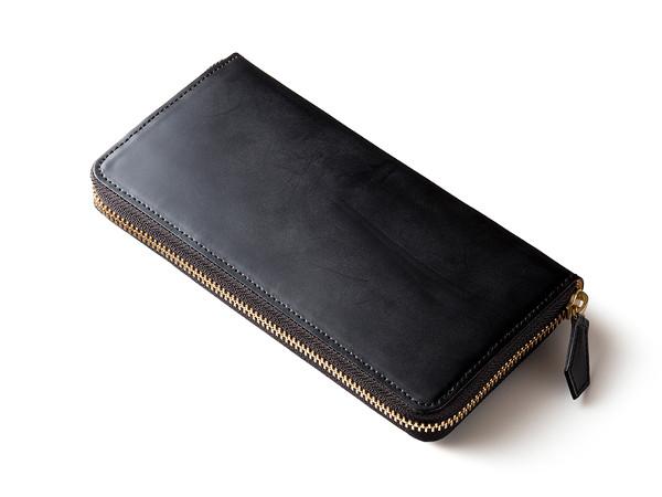 蝋引きコードバンラウンドファスナー長財布