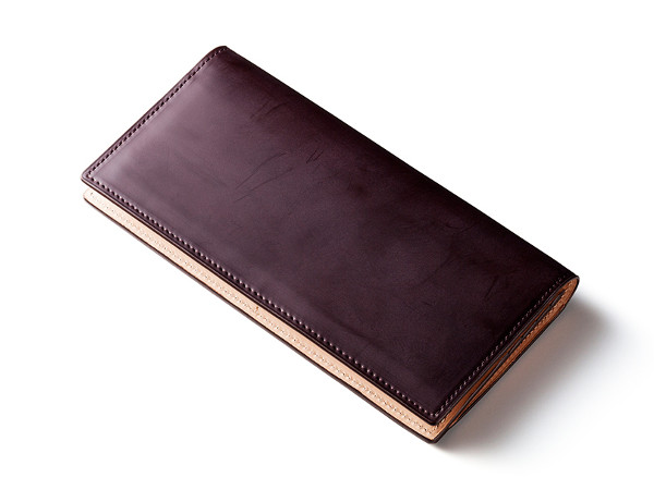 スリムデザイン蝋引きコードバン長財布