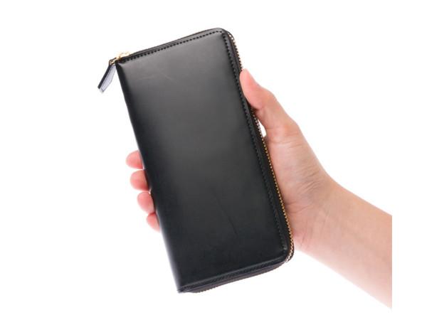 蝋引きコードバンラウンドファスナー長財布のデザイン