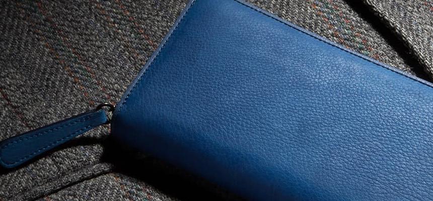 青色系の長財布