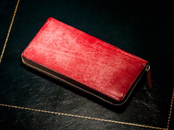 スイスレッドの革財布