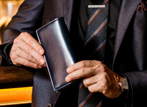 シェルコードバン長財布(ネイビーブルー)