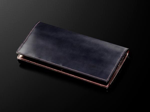 コードバン長財布「ブルー」