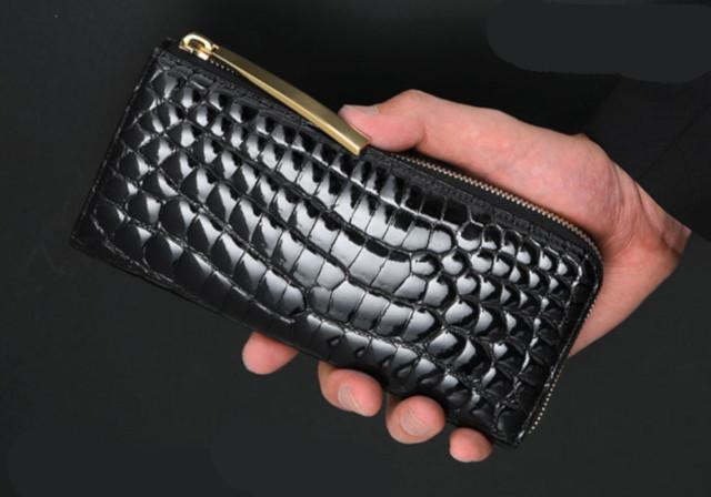 スモールクロコダイル(シャイニング)L字ファスナー長財布