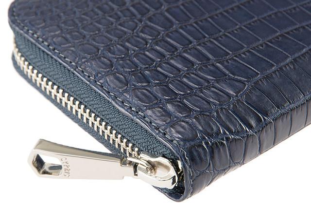 【青色】のクロコダイル財布