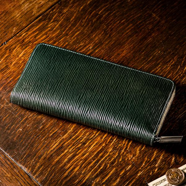「型押しブライドルレザー」革財布
