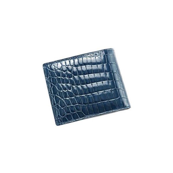 クロコダイル&シラサギレザー 小銭入れ付き二つ折り財布「104261」